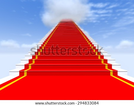 Stairs, red carpet, the sky with clouds - as the path to glory.
