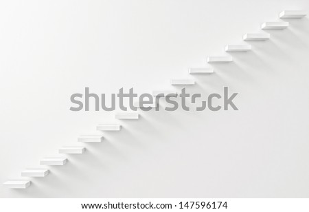 Stairs Rendered on the White Wall - stock photo