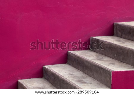 Stairs steps with pink background - construction detail. - stock photo