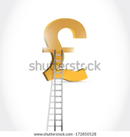 stairs to british pound currency symbol illustration design over white - stock photo