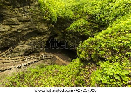 Stairs To Cave Entrance - stock photo