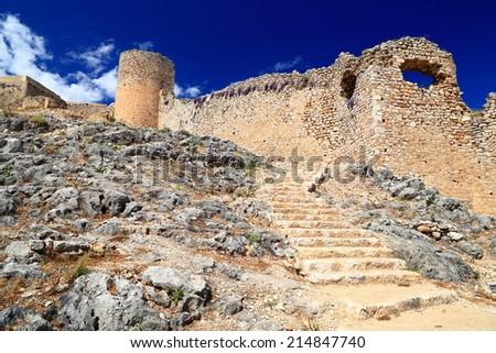 Stairs to Kastro Larissa, Venetian fortress built on hill top near Argos, Greece - stock photo