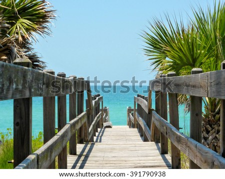 stairs to the beach - stock photo