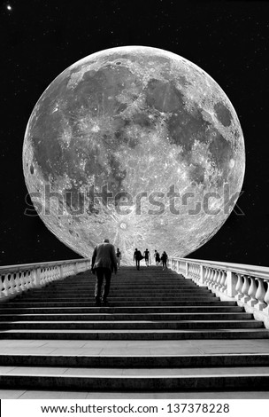 Stairs to the Moon - stock photo