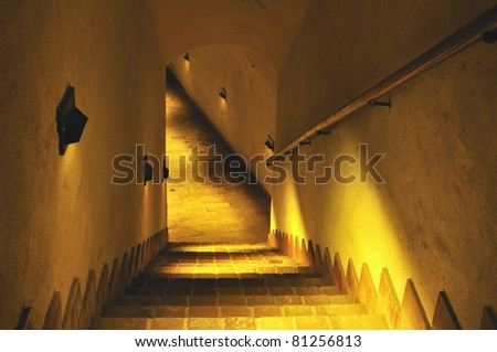 Stairs to the old dungeon. Underground in Lublin in Poland.