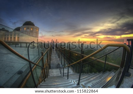 stairs to view of LA - stock photo