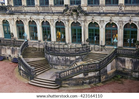 Stairs top view  at Zwinger palace and Residenzschloss (city hall) on the back in Dresden, Germany