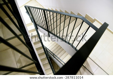 Stairs Triangle spans inside the house - stock photo