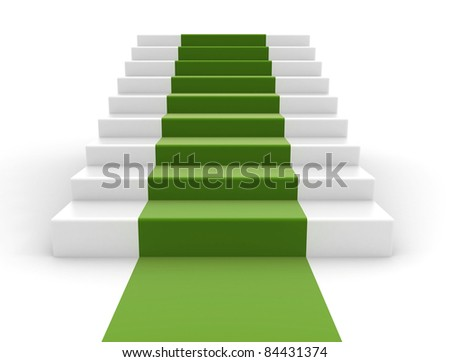 Stairs with a green carpet