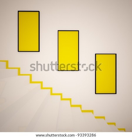 stairs with picture frames