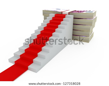 Stairs with red carpet and five hundred euros money heap, isolated on white background. - stock photo