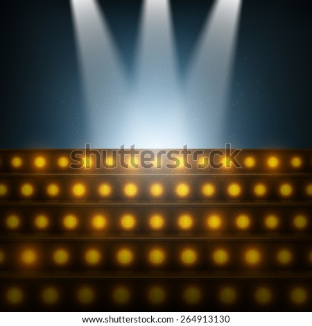 Stairs with Spotlights to Illuminated Stage - stock photo