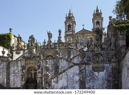 Stairway and church of Bom Jesus do Monte  - stock photo