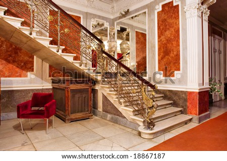 Captivating Stairway And Mirror Inside Luxury Apartments Shot In Tolstoy Palace Odessa  Ukraine Penthouse Apartment Stock Photos Royalty Free Images Vectors