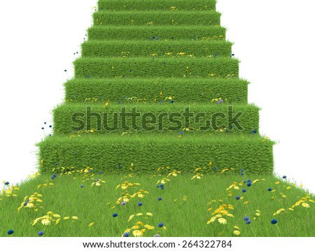 stairway covered with green grass. isolated on white background - stock photo