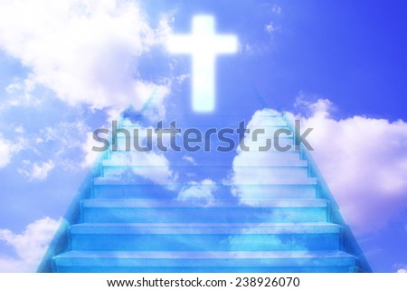 stairway going up to the christian cross door - stock photo