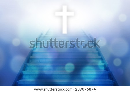 stairway going up to the christian cross with bokeh light background,blue color tone - stock photo