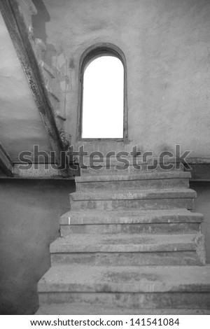 Stairway in a Historic Building  Black and White - stock photo