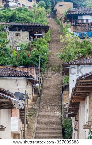 Stairway in a village Leymebamba, northern Peru. - stock photo