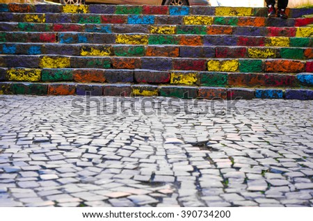 Stairway  in the form of pencils of rainbow colors contrast photo - stock photo