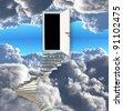 Stairway leads to door in sky - stock photo