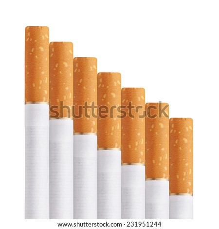stairway of cigarettes isolated on a white background - stock photo