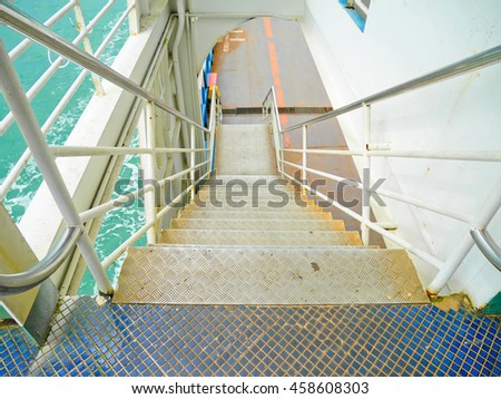 Stairway to car park on the ship
