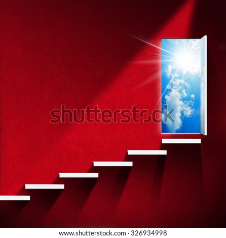 Stairway to Heaven - Red Room / Room with red wall and white stairway, open door with blue sky, clouds and sun rays. Heaven and hell concept - stock photo