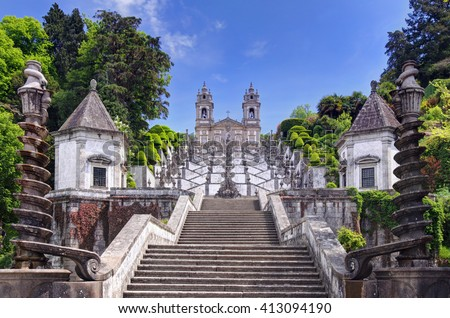 Stairway to the church of Bom Jesus do Monte in Braga, Portugal - stock photo
