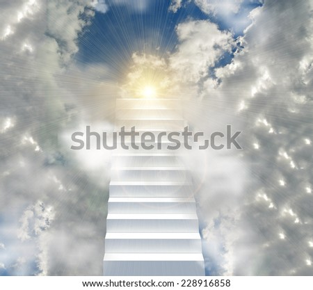 stairway to the sun , to a hole of sky among clouds - paradise success heaven death - stock photo