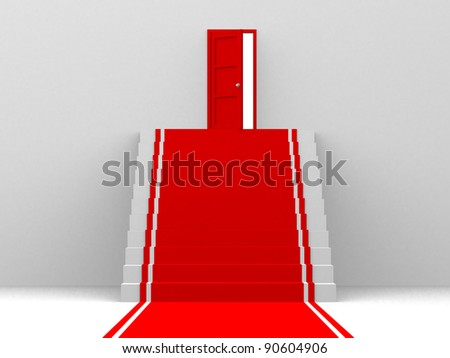 Stairway to the top - 3d render - stock photo