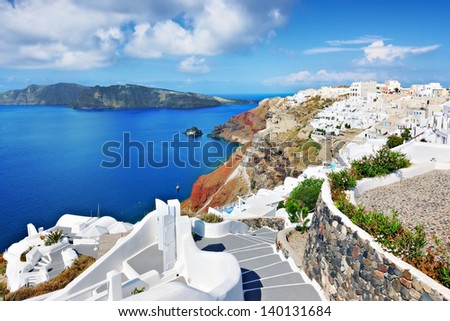 Stairway view from Oia, Santorini, Cyclades, Greece - stock photo