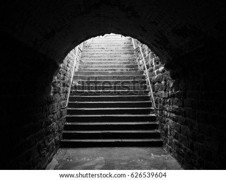 Stairway with arch of a old subway