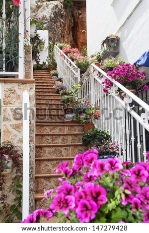 Stairway with flowers in the Mijas town, Spain.