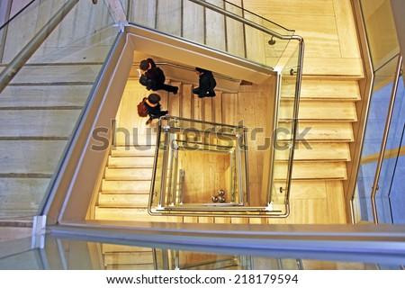 Stairwell in an office building - stock photo
