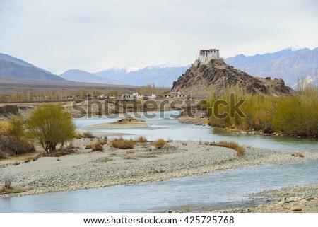 Stakna monastery, Ladakh, Jammu and Kashmir, India - stock photo