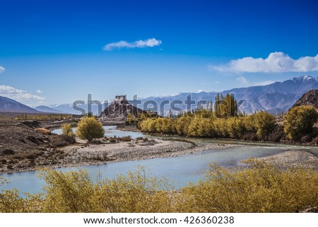 Stakna monastery with view of Himalayan mountains , Ladakh , India - stock photo