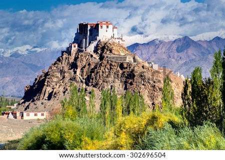 Stakna monastery with view of Himalayan mountians - it is a famous Buddhist temple in,Leh, Ladakh, Jammu and Kashmir, India. - stock photo
