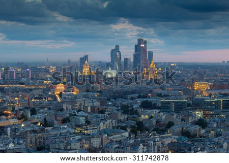 Stalin skyskrapers, Moscow International Business Center and panoramic view of Moscow - stock photo