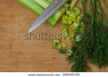stalks of celery and fennel - stock photo