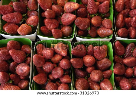 stall of strawberries at the market