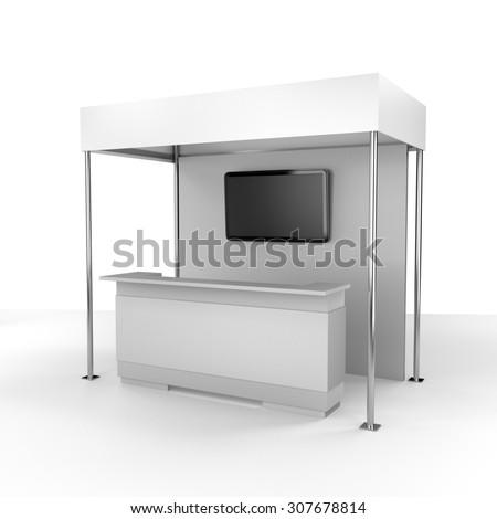 stall or booth with tv displays - stock photo