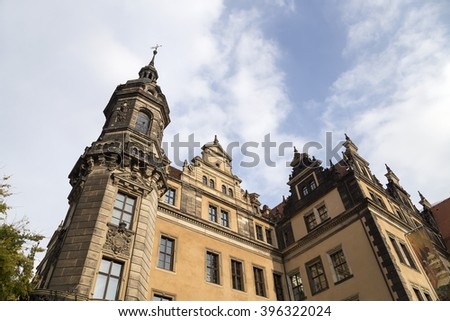 Stallhof in Dresden,Germany (Dresdner Residenzschloss,Dresdner Schloss).Dresden Castle or Royal Palace is one of the oldest buildings in Dresden.It has been residence of electors and kings of Saxony