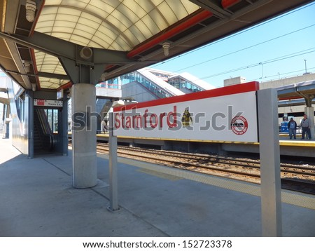 STAMFORD, CONNECTICUT - APRIL 25: The Stamford Metro-North Railroad station as seen on April 25, 2013 in Connecticut, USA. It serves commuters leaving & entering Stamford via the New Haven Line. - stock photo