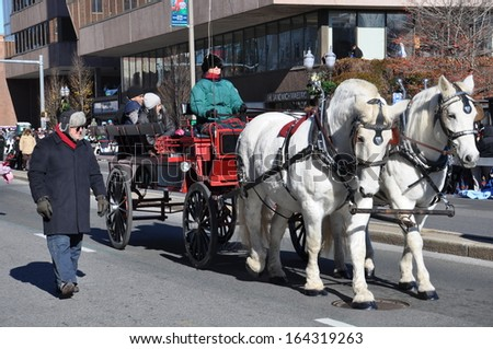 STAMFORD, CONNECTICUT - NOV 24: The 20th annual UBS Thanksgiving Parade Spectacular, in Stamford, Connecticut on November 24, 2013. The event drew around 100,000 people.