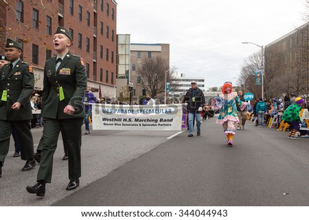 "Stamford, Connecticut - November 22, 2015: The annual ""Thanksgiving Day Parade"" in Stamford, Connecticut on November 22, 2015"