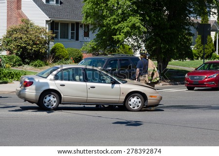 Stamford, CT - USA - May 14, 2015: Car accident in Stamford Connecticut on May 14, 2015
