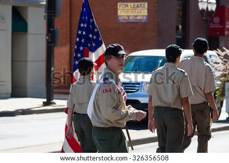 Stamford, USA - October 11, 2015: Individuals participating in the annual Colombus Day Parade in Stamford, Connecticut on October 11, 2015