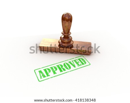 Stamp approved on white background, 3D rendering - stock photo