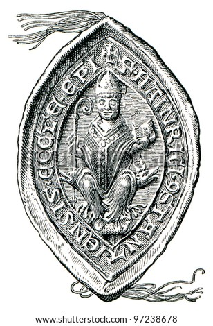 "Stamp bishop Heirich von Konstanz, 1235. The Roman Catholic Church. Publication of the book ""Meyers Konversations-Lexikon"", Volume 7, Leipzig, Germany, 1910"
